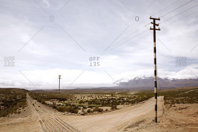 Railway in the desert in Northern Argentina