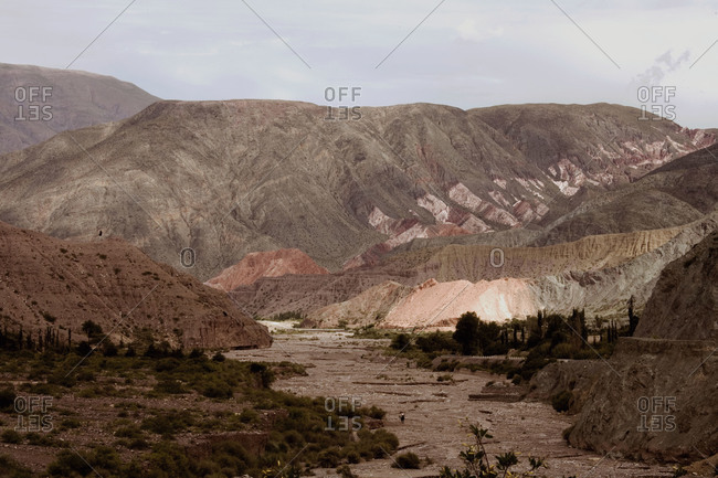 Landscape of dried up river bed