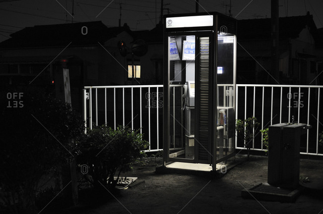 Telephone booth at night, Kanagawa Prefecture, Japan