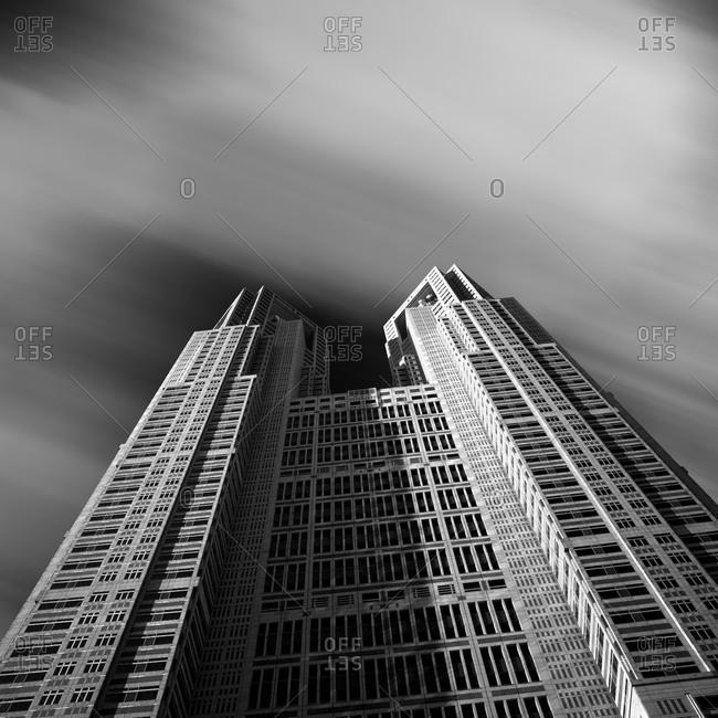 Tilt view of office building, Shinjuku, Tokyo, Japan