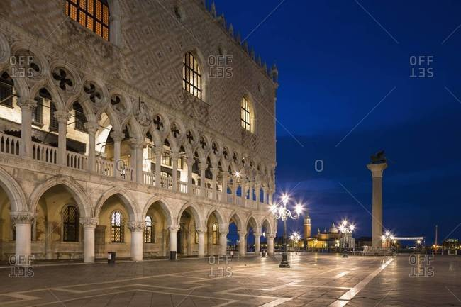 Italy, Venice, St Mark's Square with Doge's Palace at night