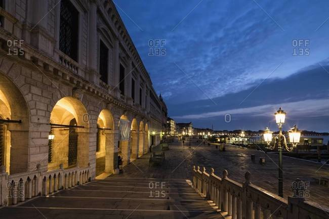Italy, Venice, Canale di San Marco with Doge's Palace at night