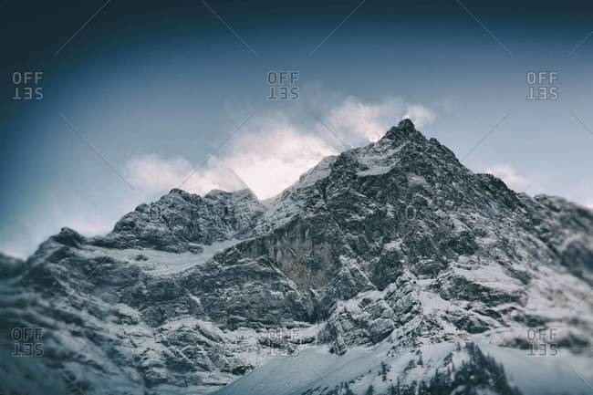 Austria, Tyrol, Karwendel, view to snow covered Spritzkarspitze