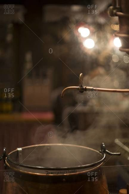 Cauldron of steaming Feuerzangenbowle
