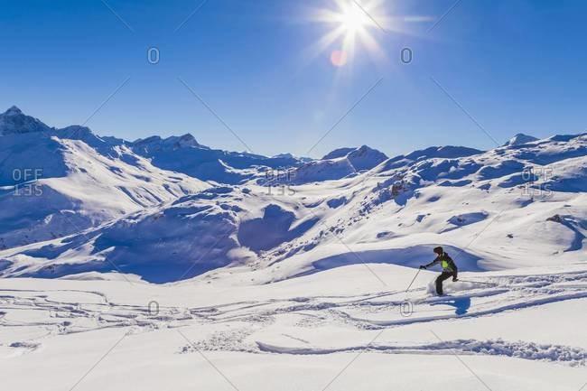 Switzerland, Graubuenden, Savognin, Ski Area, skier