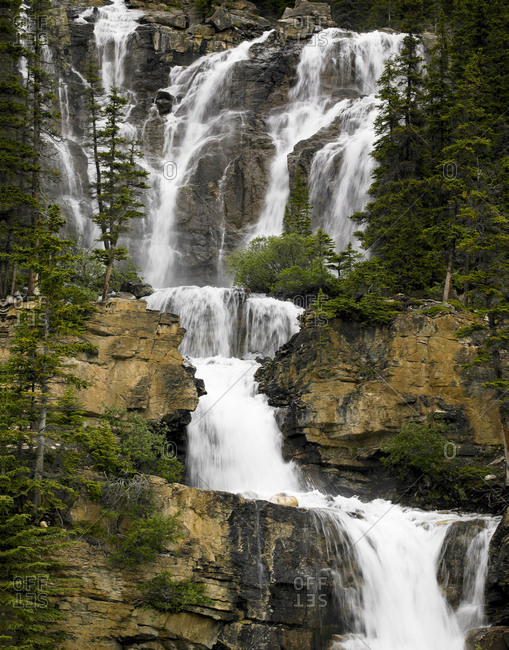 Multiple cascade thunders in Canada\'s Columbia Icefields Parkway.