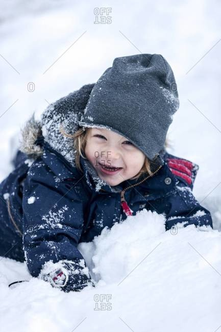 Happy boy in snow, Nacka, Sweden