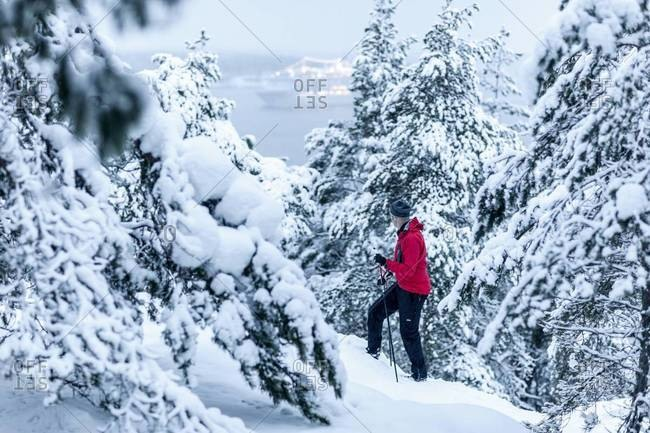 Man skiing in the forest of Nacka, Sweden