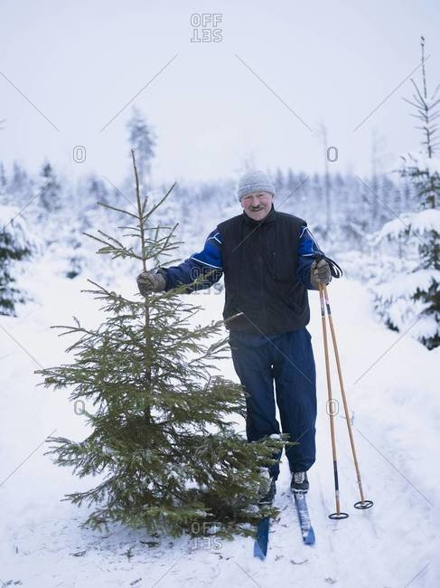 Smiling man with spruce tree