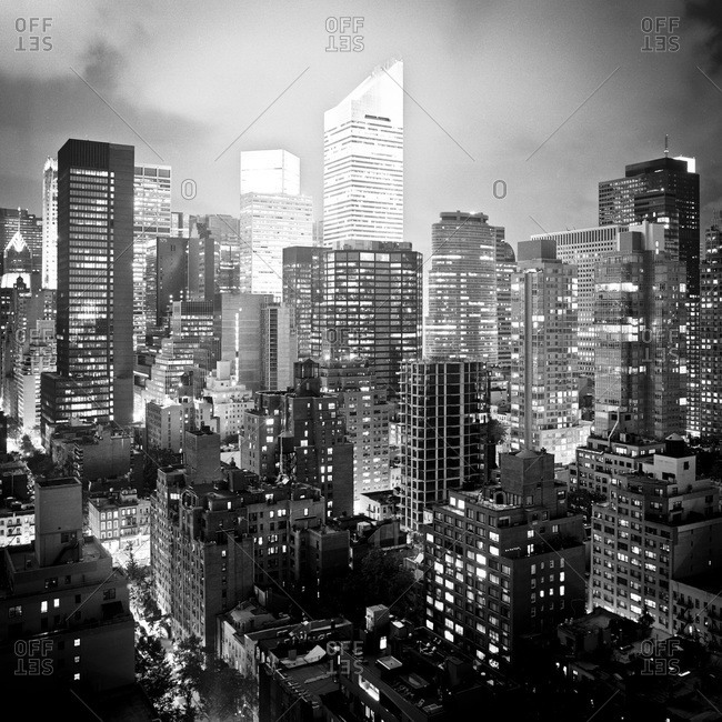 View of the Midtown Manhattan at night