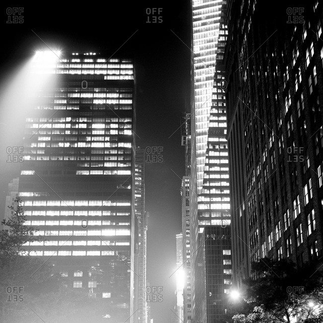 Highrise buildings in Midtown West Manhattan at night