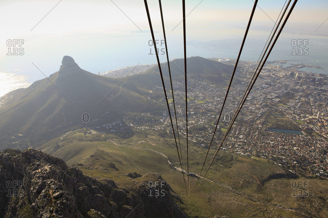 View of Cape Town and Lion's Head Mountain from cable car