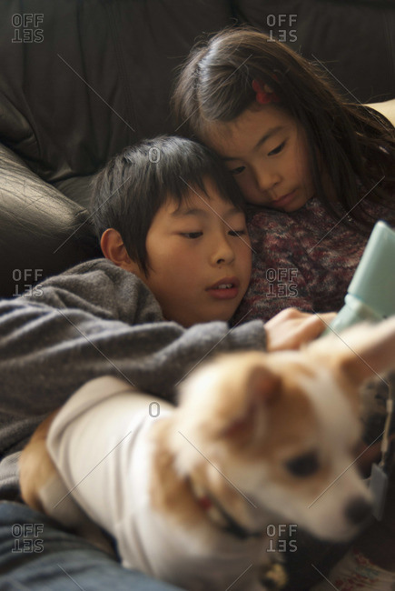 A brother and sister lying on sofa with dog