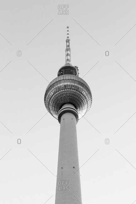 Low angle view, Alexanderplatz Television Tower, Berlin, Germany