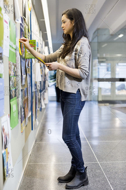 Female university student pinning paper to bulletin board in college