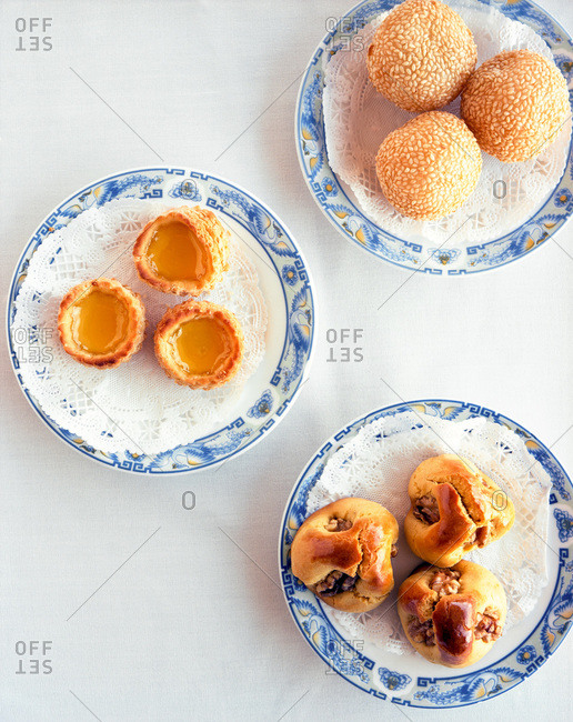 Overhead view of assorted Chinese sweets