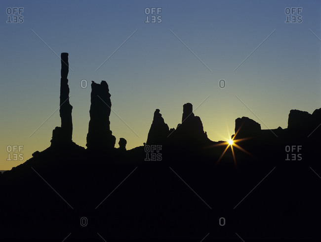 Distinctive and singular rock formations of Monument Valley in the Navajo Nation