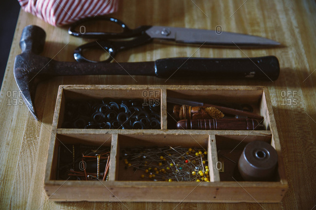 Tools of sewing machinist, close up