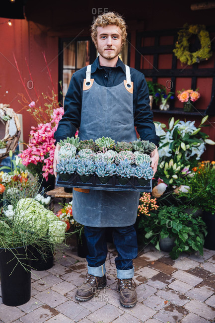 Male florist holding a tray of potted plants