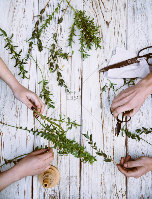 Overhead view of florists cutting flowers and twigs