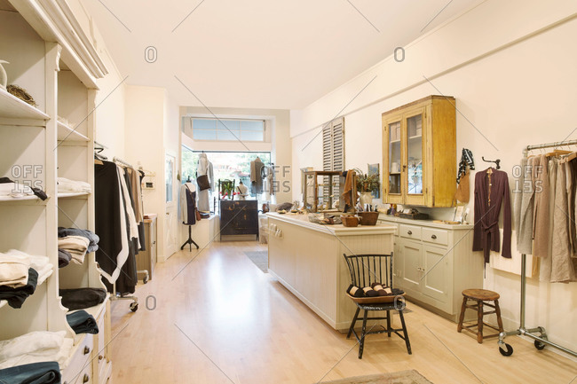 Interior view of women's clothing boutique store