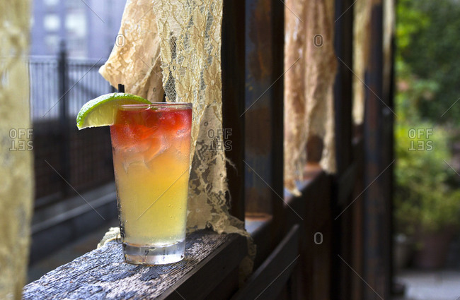 Colorful cocktail on a windowsill