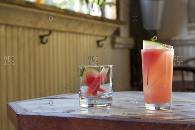 Watermelon slices served with watermelon cocktail