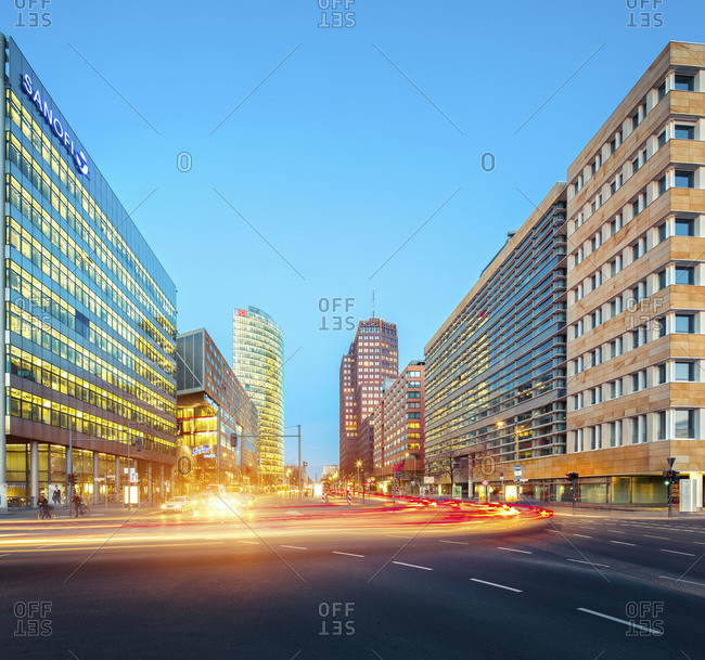 Potsdamer Platz skyline Berlin with traffic lights