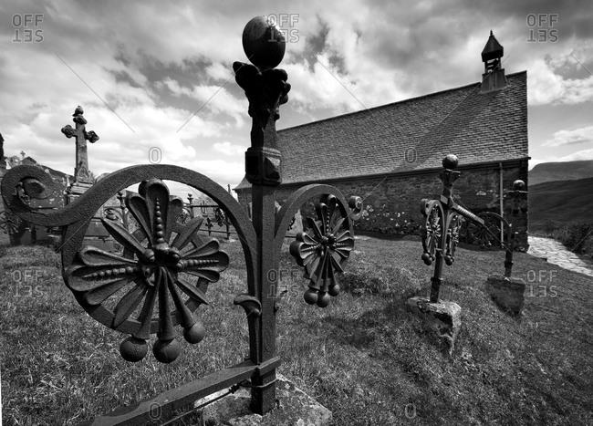 Cille Choirill Church and graveyard in Glen Spean, Scotland