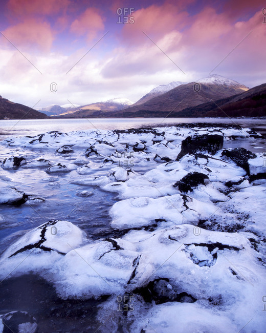 Frozen shore of Loch Creran, Argyll