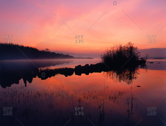 Misty sunset afterglow on Loch Awe, near Cladich, Argyll