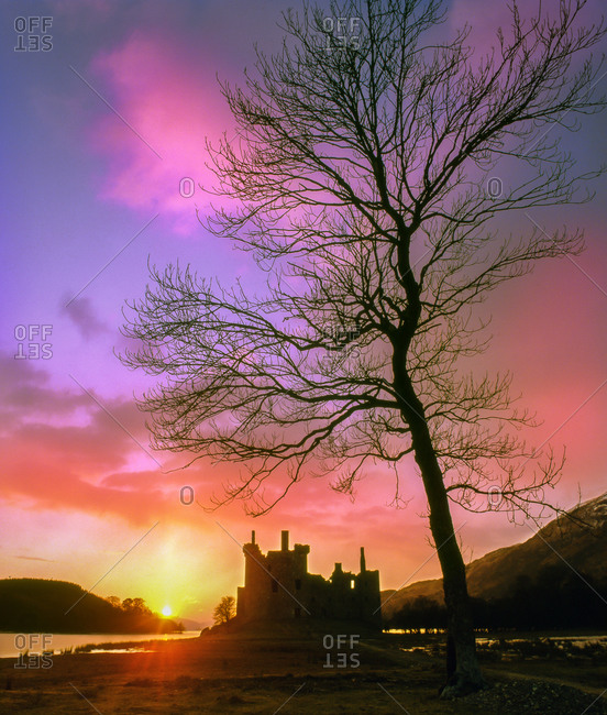 Sunset over the ruins of Kilchurn Castle, Loch Awe, Argyll