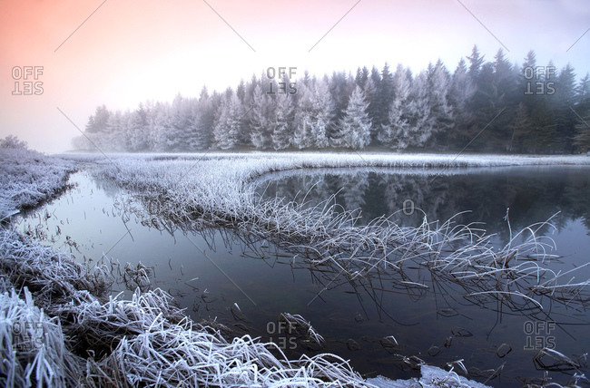 Frosty scene on Loch Lubhair, Perthshire