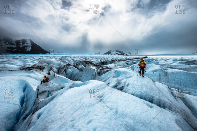Punta Arenas, Chile - February 12, 2013: Team Redfox-Goretex weaving between crevasses on the massive Tyndall Glacier, part of the Patagonian Ice Cap during the Patagonian Expedition Race