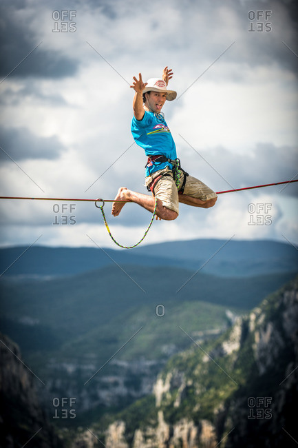 Verdon Gorge, France - May 6, 2013: Niccolo Zarattini highlining in the Belvedere Carrel sector of the Verdon Gorges