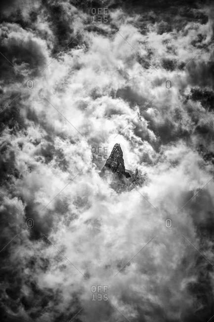 Mountain peak hidden behind clouds in Chamonix, France