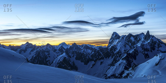 Blue hour at Chamonix, France