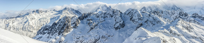 Panoramic view of Aiguilles Rouges in daytime, France