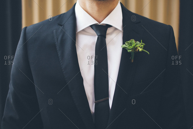 Mid section of groom in suit