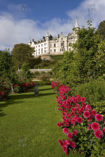 Dunrobin castle from the gardens, near Golspie