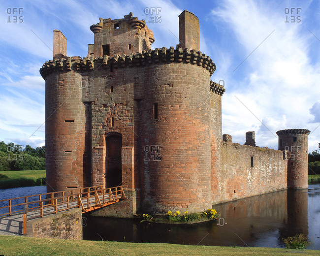 Dramatic ruins of Caerlaverock castle, Dumfries and Galloway