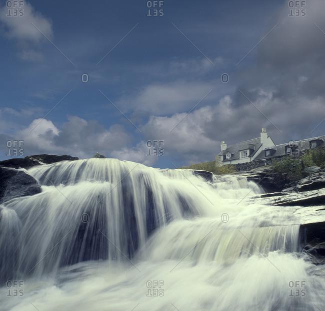 Waterfall in the village of Killin, Scotland