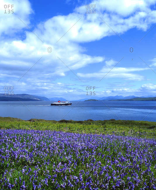 Ferry passing Duart Point at the Isle of Mull, Scotland