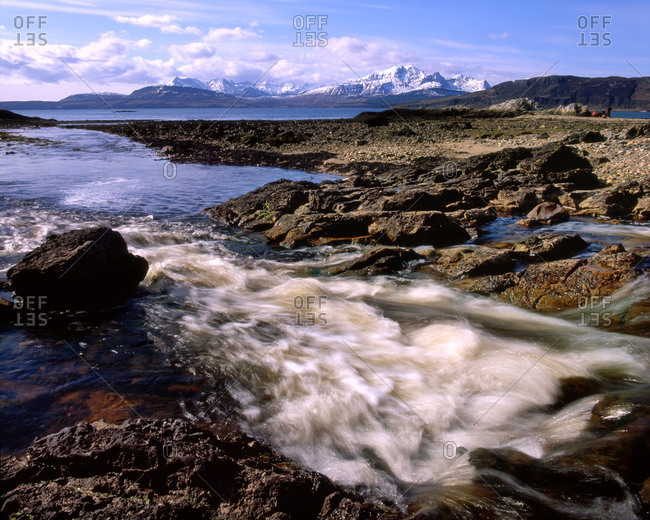 Gauskavaig Bay with the Cuillin in the background, Scotland