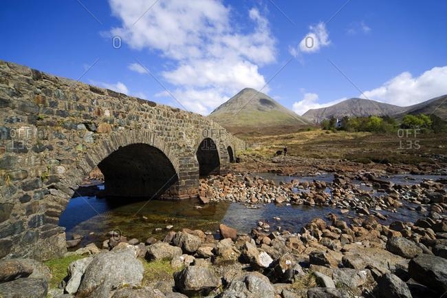 Sligachan bridge with the Black Cuillin at the Isle of Skye, Scotland