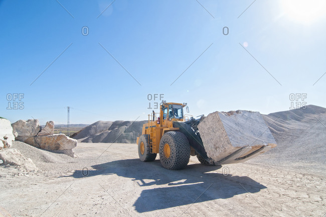 60-ton front end loader in marble quarry