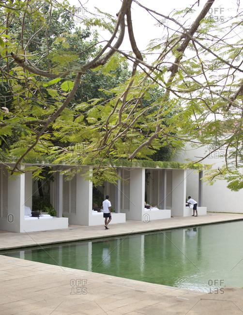 Poolside at hotel resort and resting pavilions, Galle, Sri Lanka