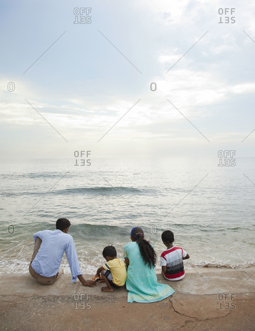 Locals come to relax on Galle Face Green, Colombo, Sri Lanka