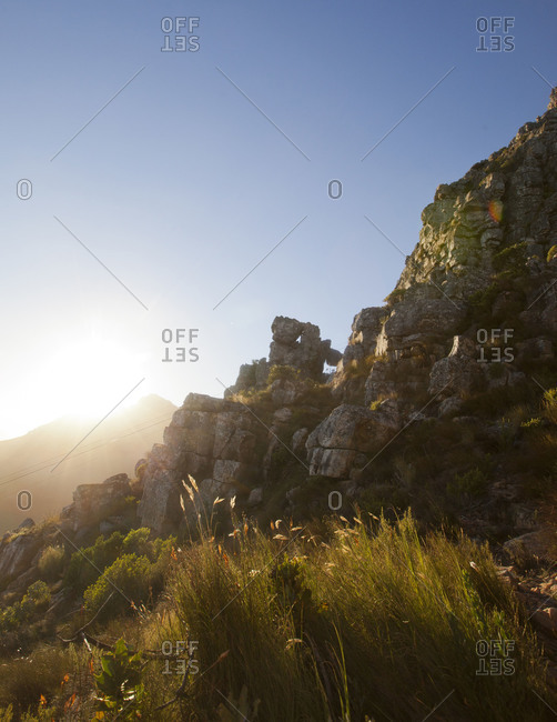 Sun setting over Table Mountain, South Africa
