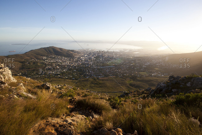View of the City Bowl in Cape Town, from the Table Mountain